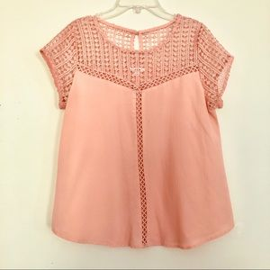 E Hanger M Anthropologie Peach Eyelet Top | L